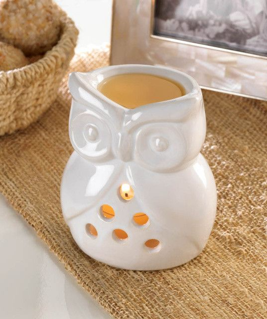 This little owl sculpture does more than just look great on your tabletop! Fill the top basin with a wax tart of your choice and place a tealight candle in the base to send soothing fragrance througho