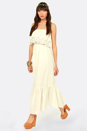 Hope-lace Romantic Strapless Ivory Maxi Dress at LuLus.com!
