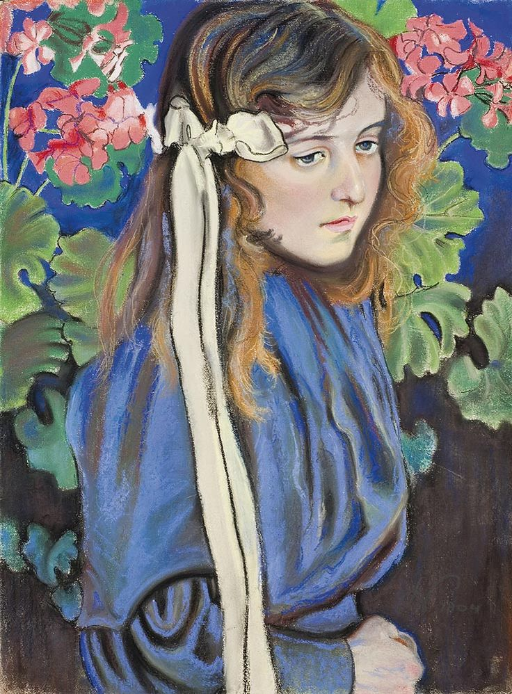 STANISŁAW WYSPIAŃSKI, PORTRAIT OF LIZA PARENSKA (AMONG BLOSSOMING PELARGONIUM FLOWERS), 1904