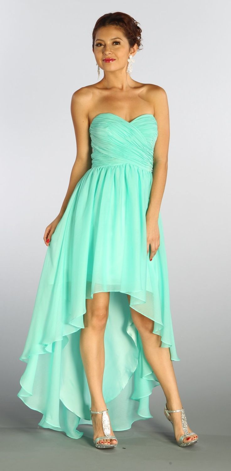 Strapless Mint High Low Chiffon Bridesmaid Dress Empire Waist (5 Colors Available)