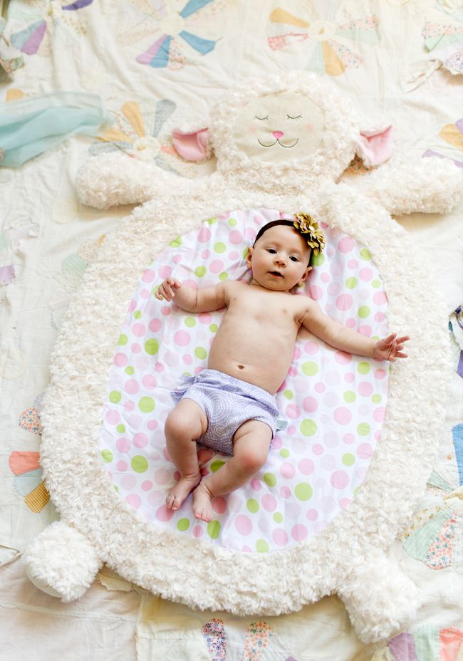 Adorable plush lamb nap or play mat