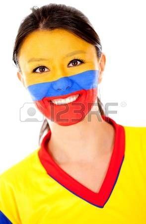 Feliz mujer colombiana - aislados en un fondo blanco photo