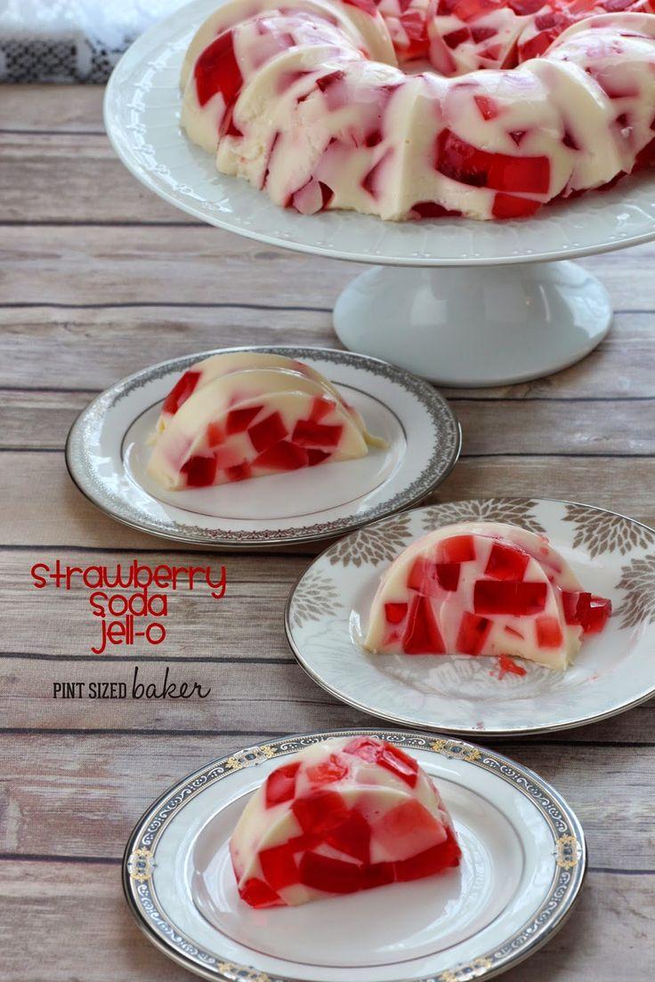 Strawberry Soda and Vanilla Ice Cream make this fun jello twist for dessert.