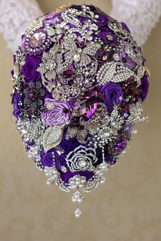Cascade Wedding brooch bouquet silver plum gold - Purple Diva