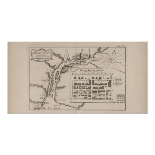 Tabletop poster, map of Fort Detroit in 1745