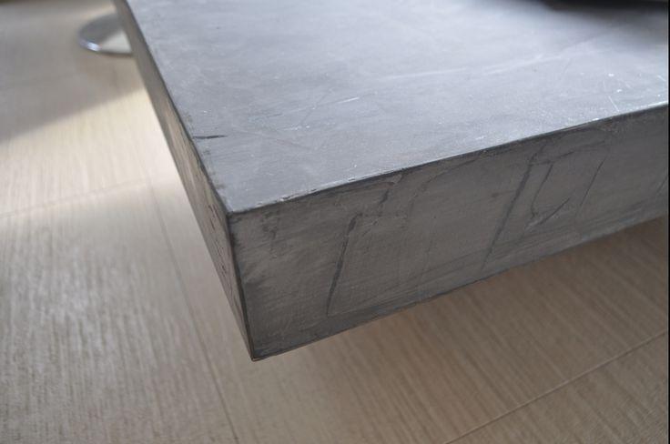 Custom made coffee table, concrete, cement mortar, solid wood, grey, interior design, greek