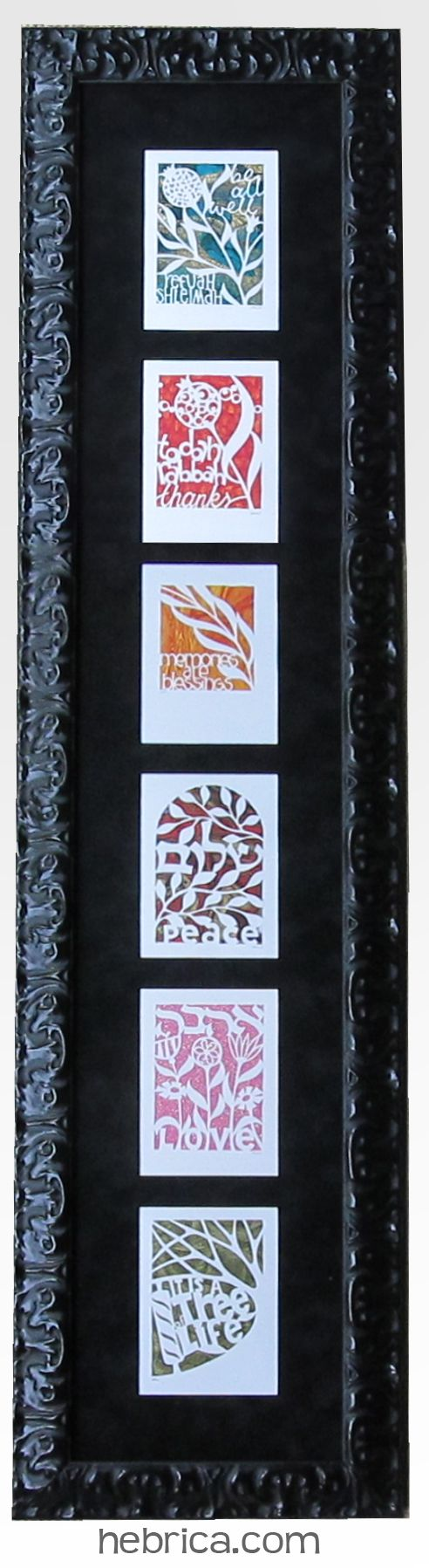 Jewish #Papercut Art ~ One of my clients framed these Jewish Greeting Cards I made #judaica #papercut http://www.hebrica.com/collections/jewish-greeting-cards