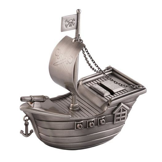 Dacapo Silver - Sparbössa Piratskepp Med Gravyrplatta L 14 Cm