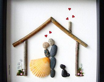 Pebble Art Wedding Gift Unique Engagement Gift-Personalized