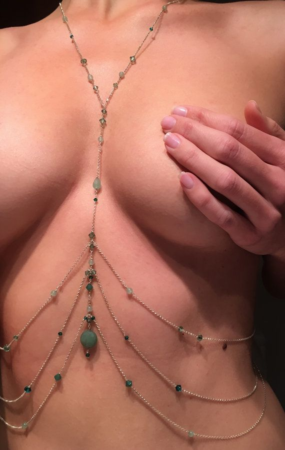 Body Chain with Aventurine Sterling Silver Body Chain by Burkeewig