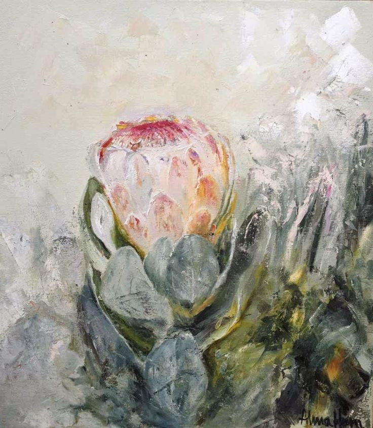 Roses and Rust: A Passion For Proteas Beautiful protea painting by Alma Horn