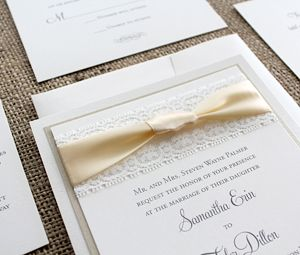 103 best invitation cards images on pinterest invitation cards lace ribbon wedding invitation stopboris Images