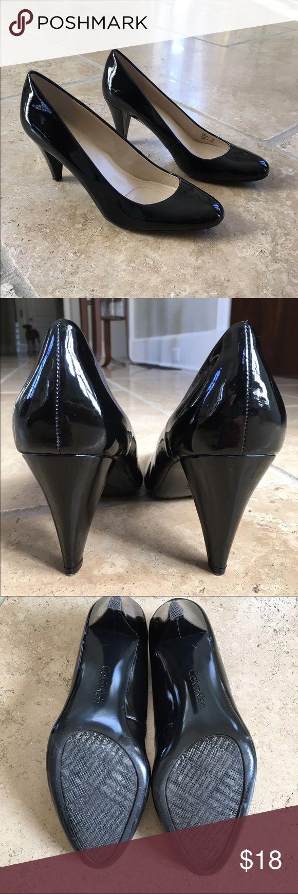 "Calvin Klein Classic Black Patent Pump Bryanna 3"" heel; few scuff marks, not very noticeable when wearing. 8M Calvin Klein Shoes Heels"