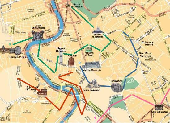 Itinerarios y mapa con monumentos para visitar Roma