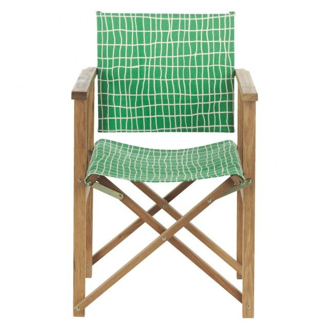 AFRICA Oak Directoru0027s Chair With Green Check Sling
