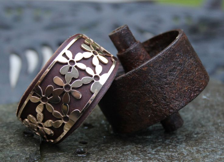 Flower Leather Cuff Bracelet by ShopPrettyPatina on Etsy