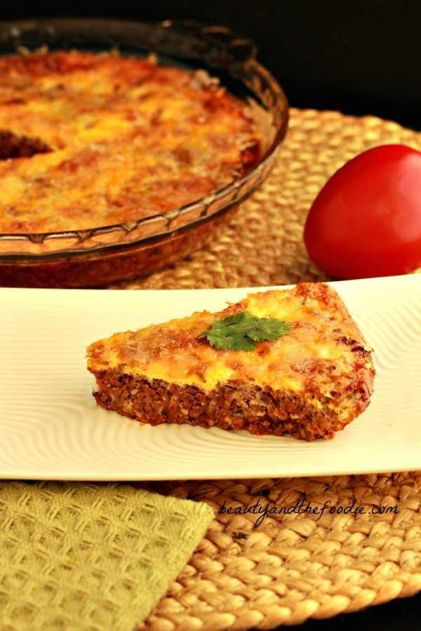 Easy Paleo Hamburger Pie, Crust Free and Low Carb - Add cheese for Cheeseburger Pie! From Beauty and the Foodie. Visit us at: https://www.facebook.com/LowCarbingAmongFriends
