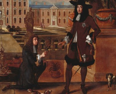 detail from John Rose (1619–1677), the Royal Gardener, presenting a Pineapple to King Charles II, National Trust