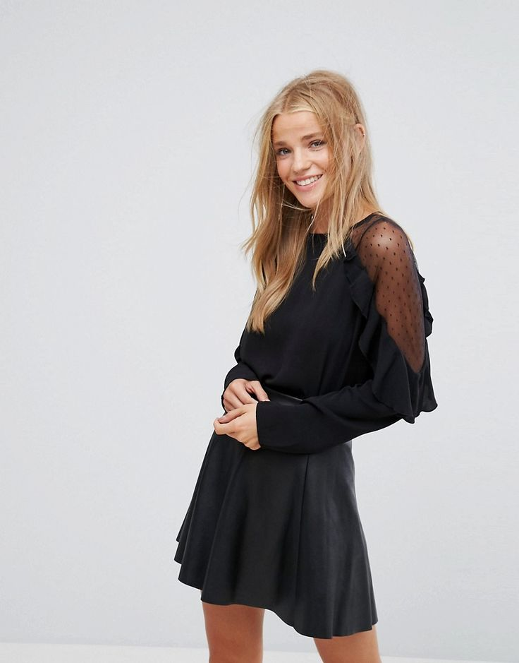 Get this Pimkie's frills blouse now! Click for more details. Worldwide shipping. Pimkie Sheer Sleeve Ruffle Blouse - Black: Blouse by Pimkie, Lightweight woven fabric, Round neck, Sheer insert, Ruffle detail, Regular fit - true to size, Machine wash, 100% Polyester, Our model wears a UK S/EU S/US S and is 168cm/5'6 tall. In 1971, French label Pimkie brought three textiles specialists together to create empowering collections that encourage women to express themselves, and the rest is fashion…