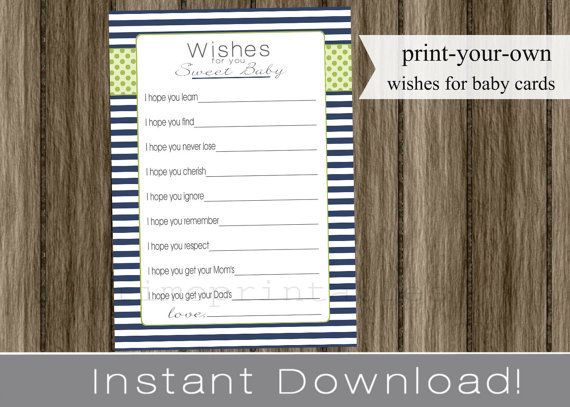 Baby Shower Wishes for Baby boy navy blue and green INSTANT DOWNLOAD diy digital printable file print your own