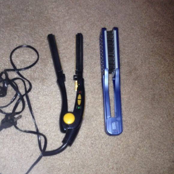 Conair Hair Styling Items This package includes a Conair hair straightener with a heat setting, and a Conair Ion Shine Ceramic Brush Other