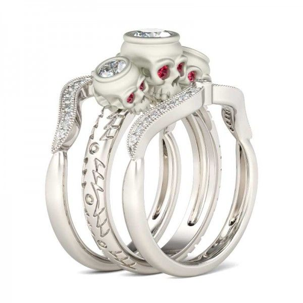 skull wedding ring set - Skull Wedding Ring Sets