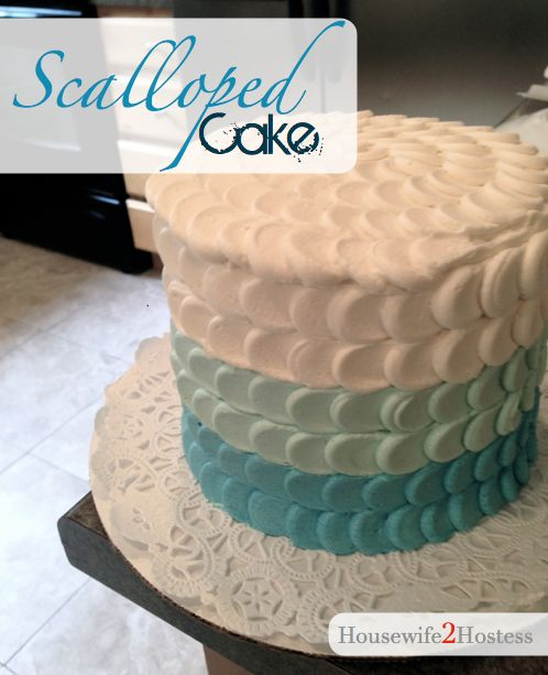Blue Scalloped Cake Decorating
