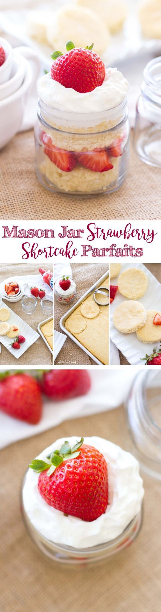 This easy dessert recipe is made with homemade shortcake, fresh strawberries, and whipped cream. These strawberry shortcake parfaits are layered in a mason jar, making them cute and portable!