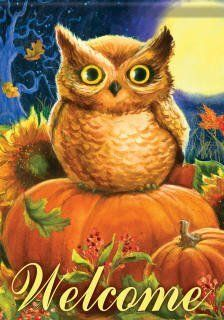 """Pumpkin Owl Garden Flag - 2 Sided by Flag Trends. $8.95. Pumpkin Owl Garden Flag at our every day low price.. Buy direct from Flags On A Stick and save on all your garden flags today!. Fall garden flag features adorable owl perched atop colorful autumn pumpkins, surrounded by fall flo. Dimensions: Owl Garden Flag Measures 13"""" x 18"""".. New for 2012. Pumpkin Owl Flag designed by Geoff Allen from Flag Trends. The flag features an Owl sitting in a Pumpkin Patch under the light of ..."""