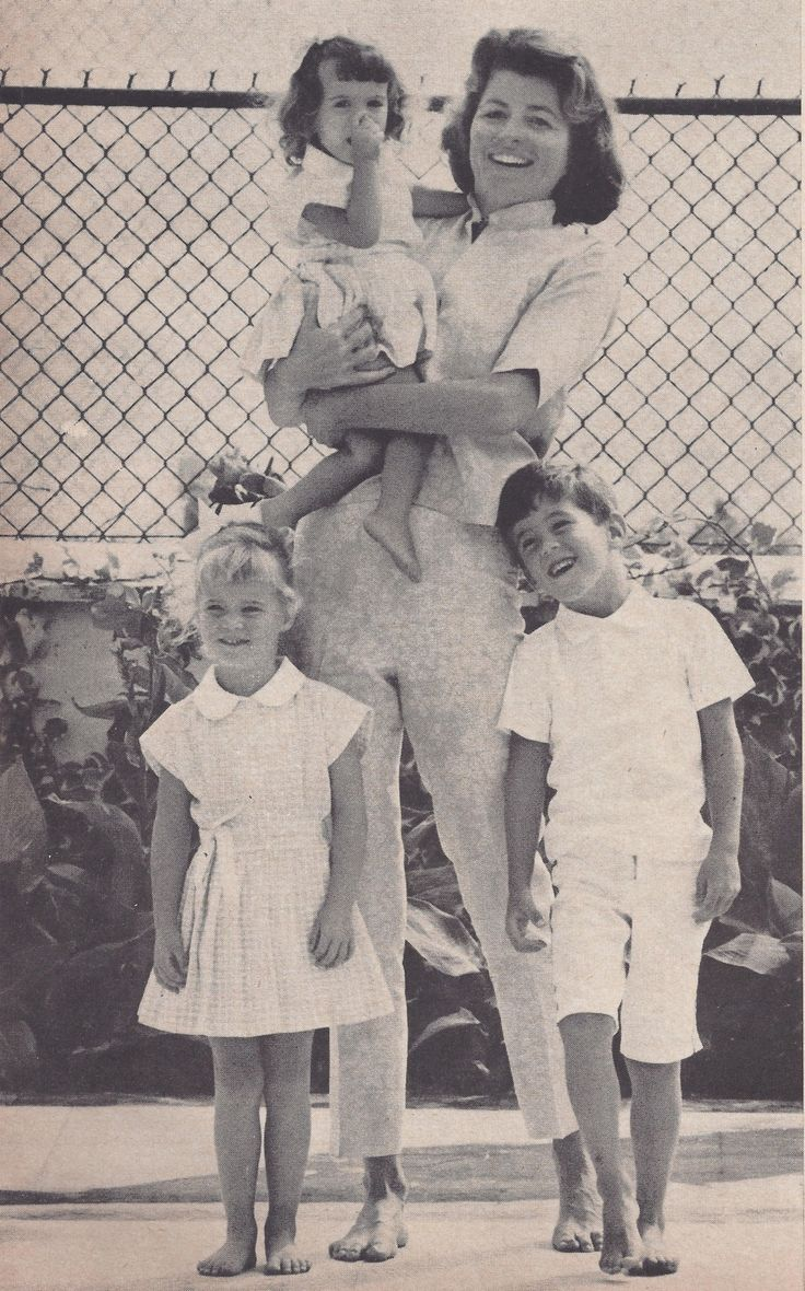 Patricia Kennedy Lawford, wife of Peter Lawford, with their kids Sydney, Victoria, and Christopher.