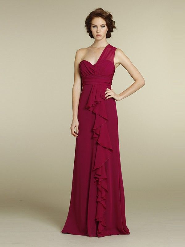A-Line/Princess Sleeveless One-Shoulder Ruched Floor-Length Chiffon Bridesmaid Dresses