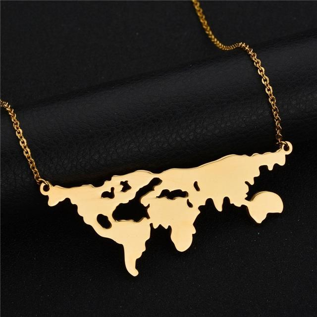 World Map Stainless Steel Necklace For Women #worldmapnecklace #necklace #travelgirl #jewellery #worldmappendant #wanderlust