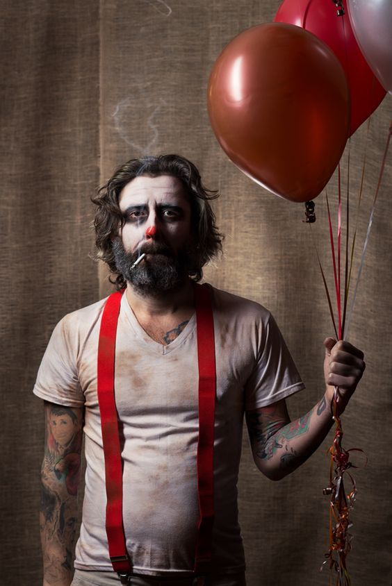 Male model Scott Lefferson, Philadelphia Makeup by Anna Angeley Styling by Cassandra Panek  A scary/sad tattooed clown, because everything I'm doing this year is dirty sideshow stuff and creepy clown portraits. #topsecretclownbusiness: