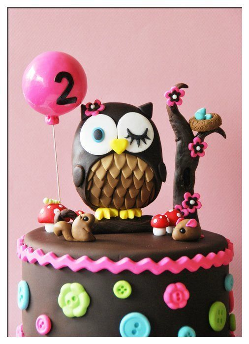 Owl cake / cupcake tower take off the two balloon it could be for a baby shower