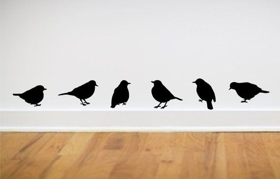 Birds vinyl wall decal Set of 6 in different by greywolfgraphics- for my trailer