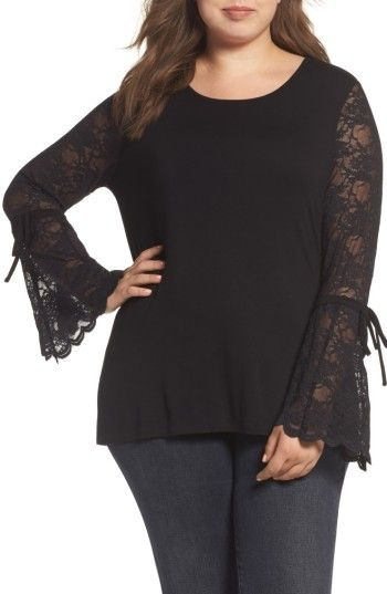 Plus Size Flared Lace Sleeve Top