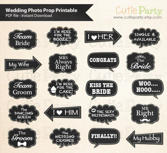 Wedding Photo Booth Prop, Chalkboard Wedding Speech Bubble Photo Booth Prop, Instant Download, Party Printable