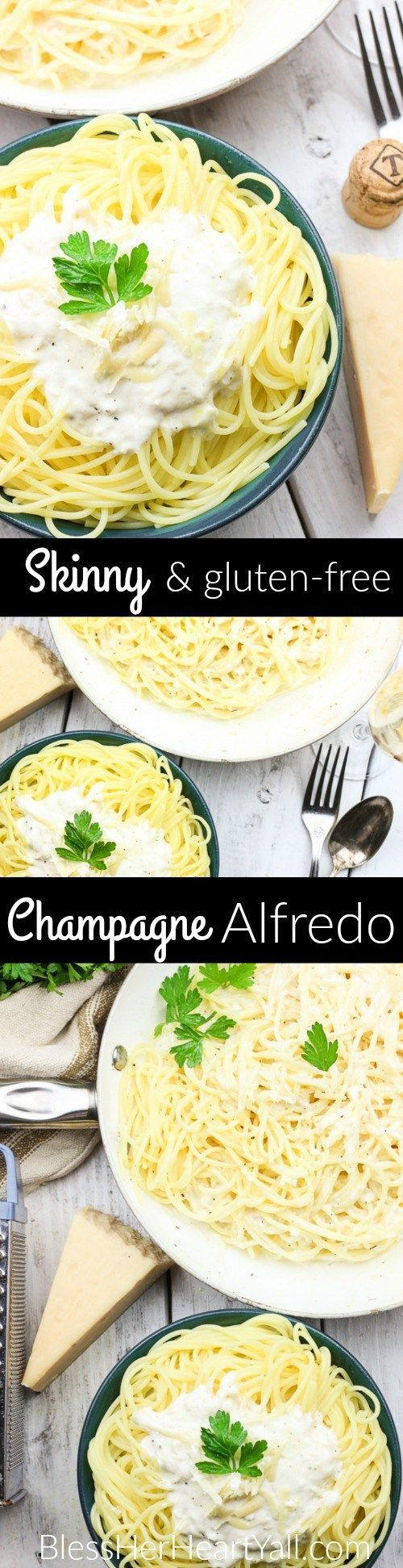 This Skinny Champagne Alfredo recipe is amazing and quick to make! Instead of those heavy unhealthy creams, healthy greek yogurt is used! And if we needed a reason to use up extra New Year's Eve champagne, here it is! It is used in lieu of chicken broth or white wine in the typical alfredo sauce! Cream, healthy, fun deliciousness! www.blessherheartyall.com