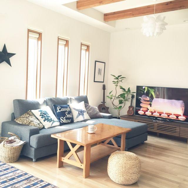 ニトリでコーディネートするリビングルーム | RoomClip mag | 暮らしと ... nekomusumeさんのソファ