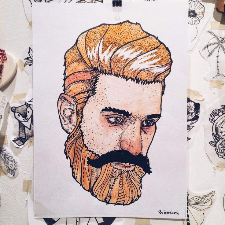 Beard man  #bianicon #linework #portrait #man #beard #color