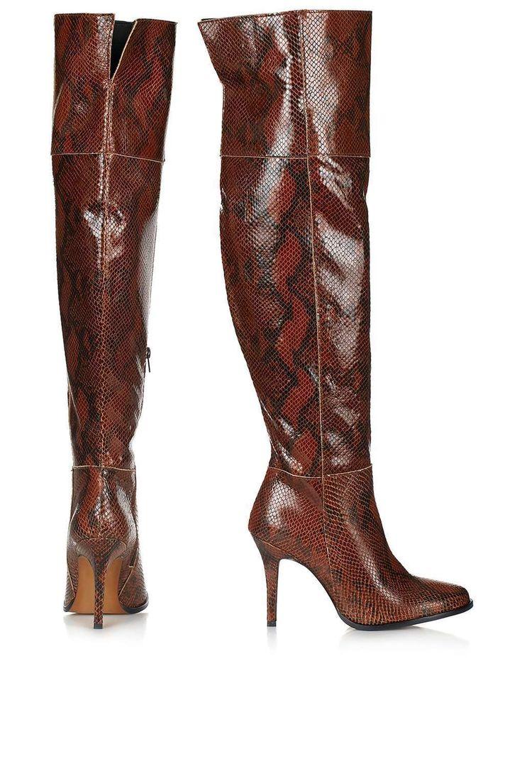 TOPSHOP SCHLANGENMUSTER OVERKNEE LEDER STIEFEL GRÖßE UK3/EUR36/US5.5 in Kleidung & Accessoires, Damenschuhe, Stiefel & Stiefeletten   eBay!