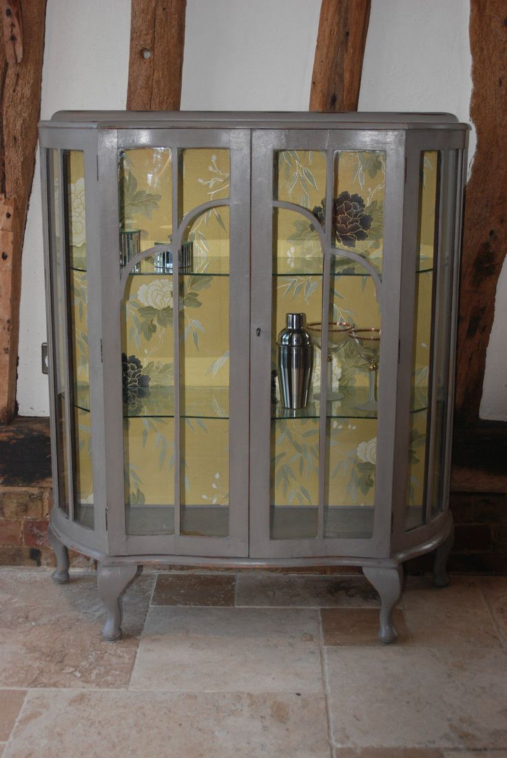 Shabby Chic Hand Painted Vintage Bow Front Glass Display Cabinet Shop