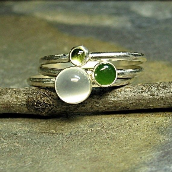 <3    Rain Forest Sterling silver stacking rings, peridot, jade, moonstone by Lavender Cottage on Etsy