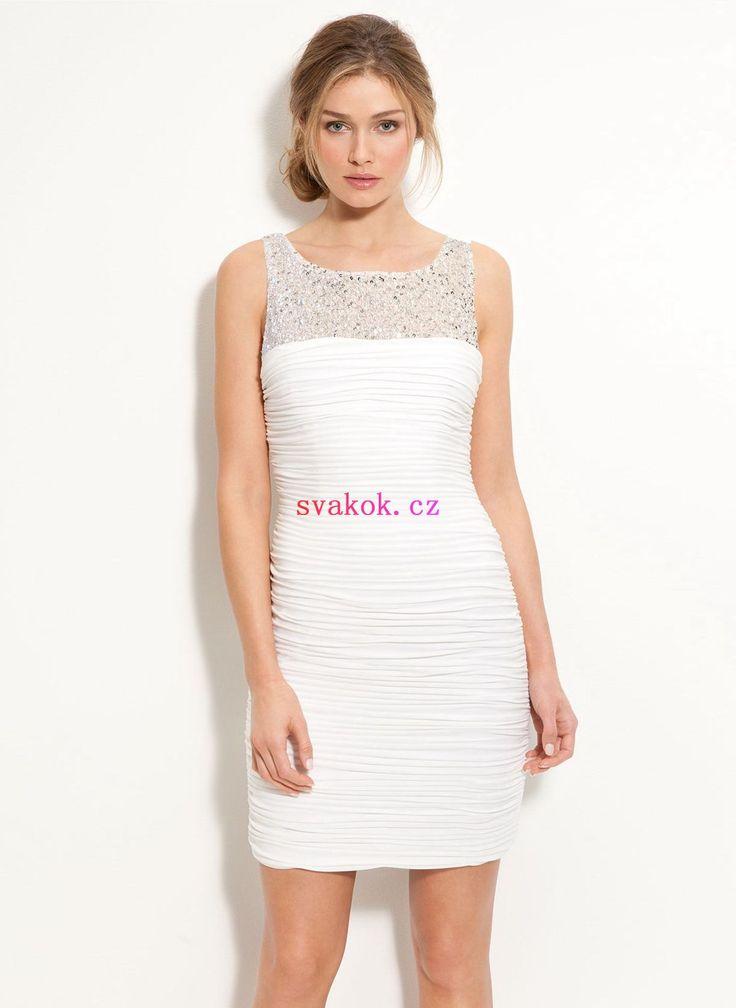 Skleněné korálky Plášť Sloupce Kulatý výstřih Výstřih Mini Šifon svatební šaty