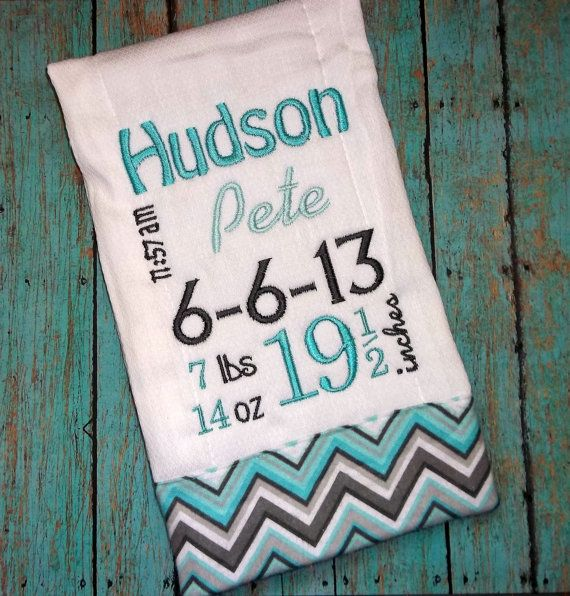 52 best birth squares images on pinterest embroidery baby birth record burp cloth with chevron for baby boy by blumers embroidery 1599 negle Choice Image