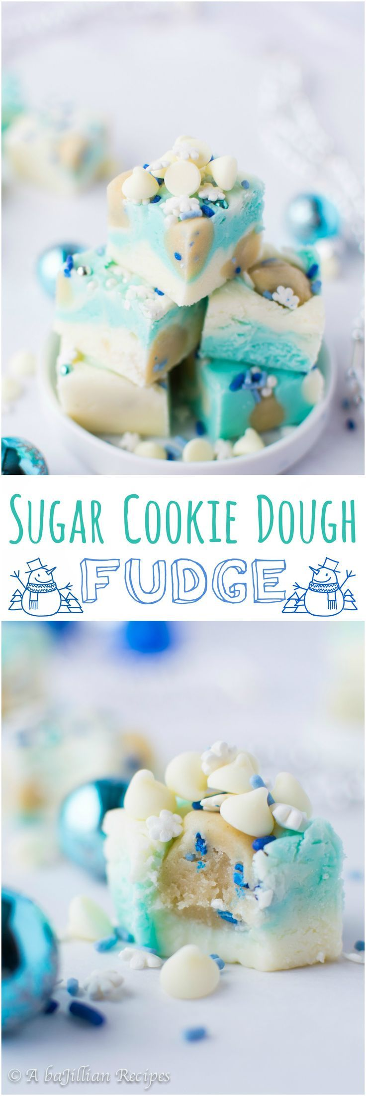 sugar-cookie-dough-fudge-A super easy, soft and creamy white chocolate fudge that's guaranteed to satisfy your raw cookie dough eating obsession! (Christmas Party Recipes)