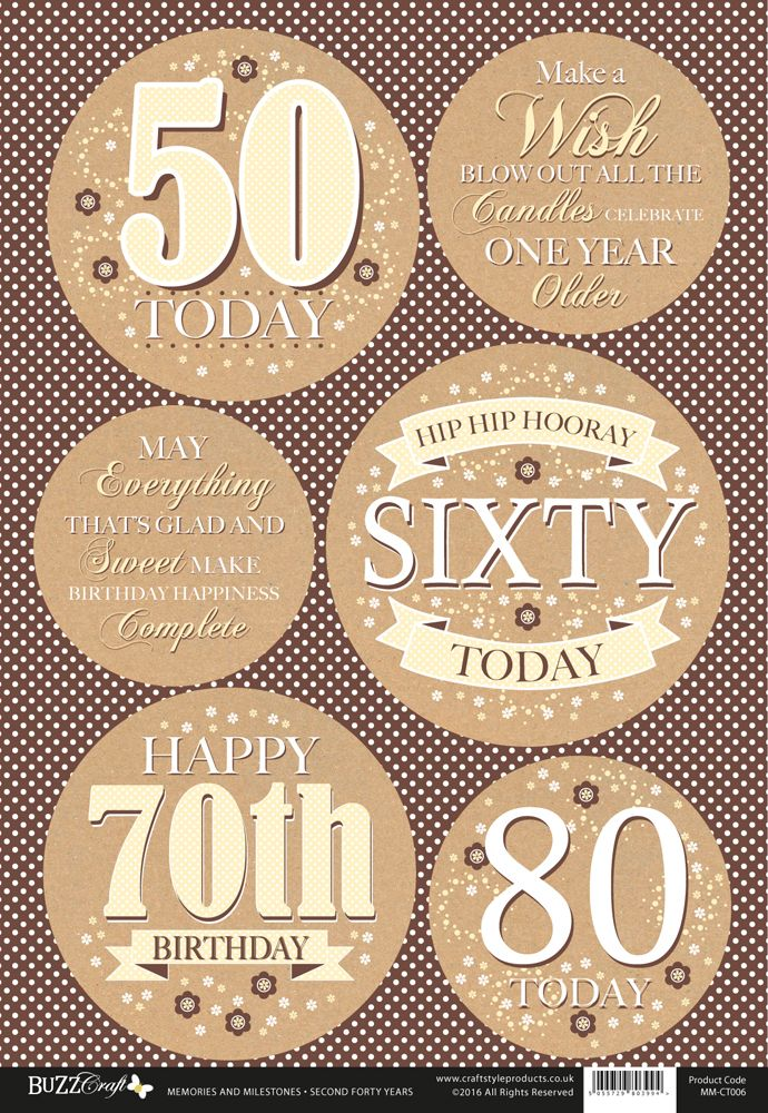 Buzzcraft Memories and Milestones occasions die cut toppers - Female Birthday Celebrations - 50 -80