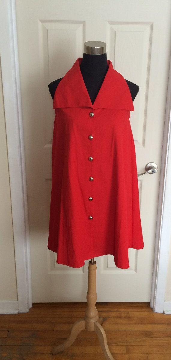 Vintage Red Tent Dress 60s 70s Sailor Collar Sleeveless Shift