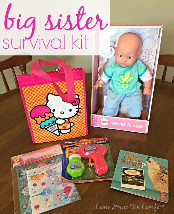 Big Sister Survival Kit: Gift ideas for a toddler welcoming home a new sibling! via ComeHomeForComfort.com