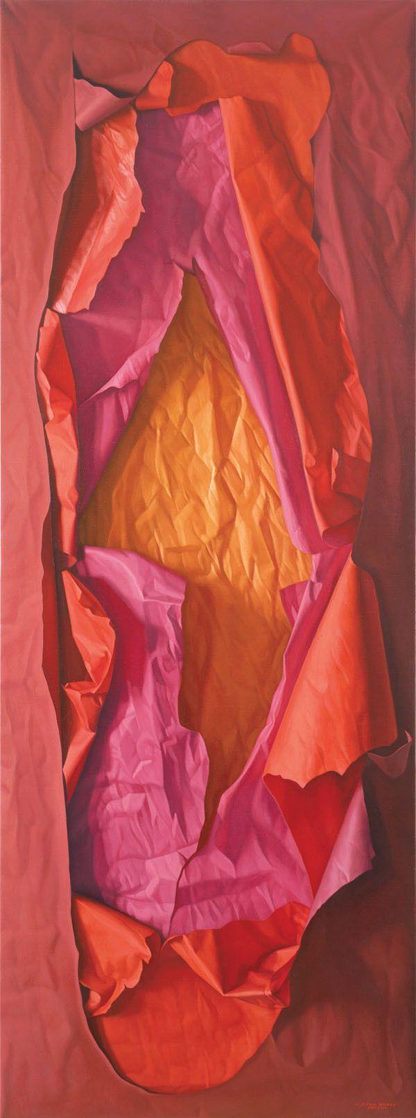 "Claudio Bravo: ""Red, Rose and Orange Paper"", 2008. Oil on canvas."